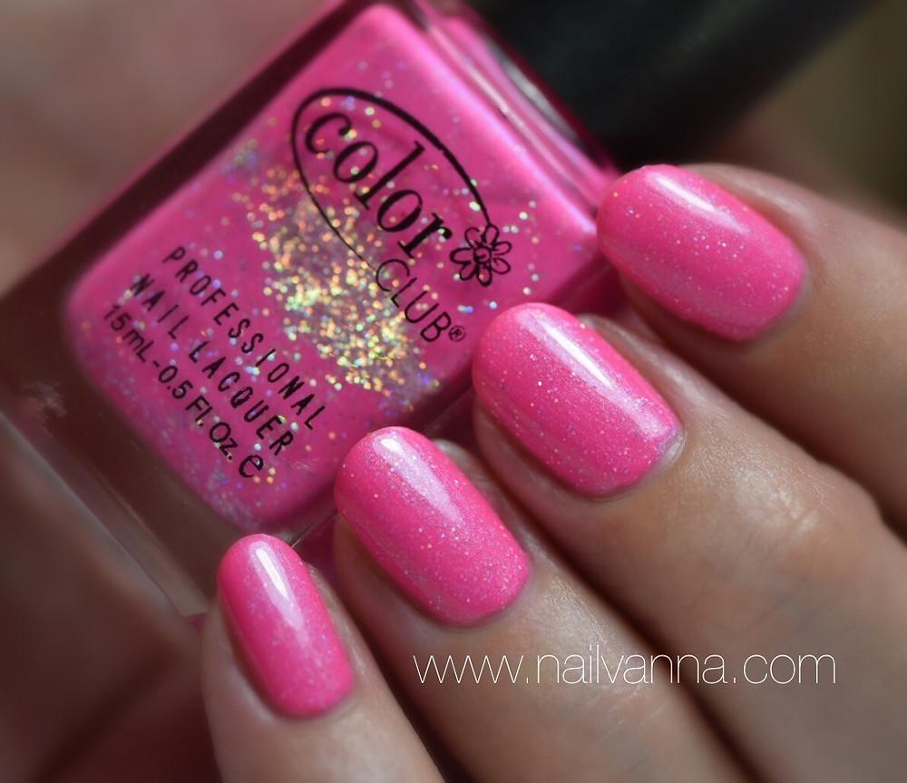 Nailvanna,nail polish reviews,lacquer,Color Club,Space Case,pink, holo glitter
