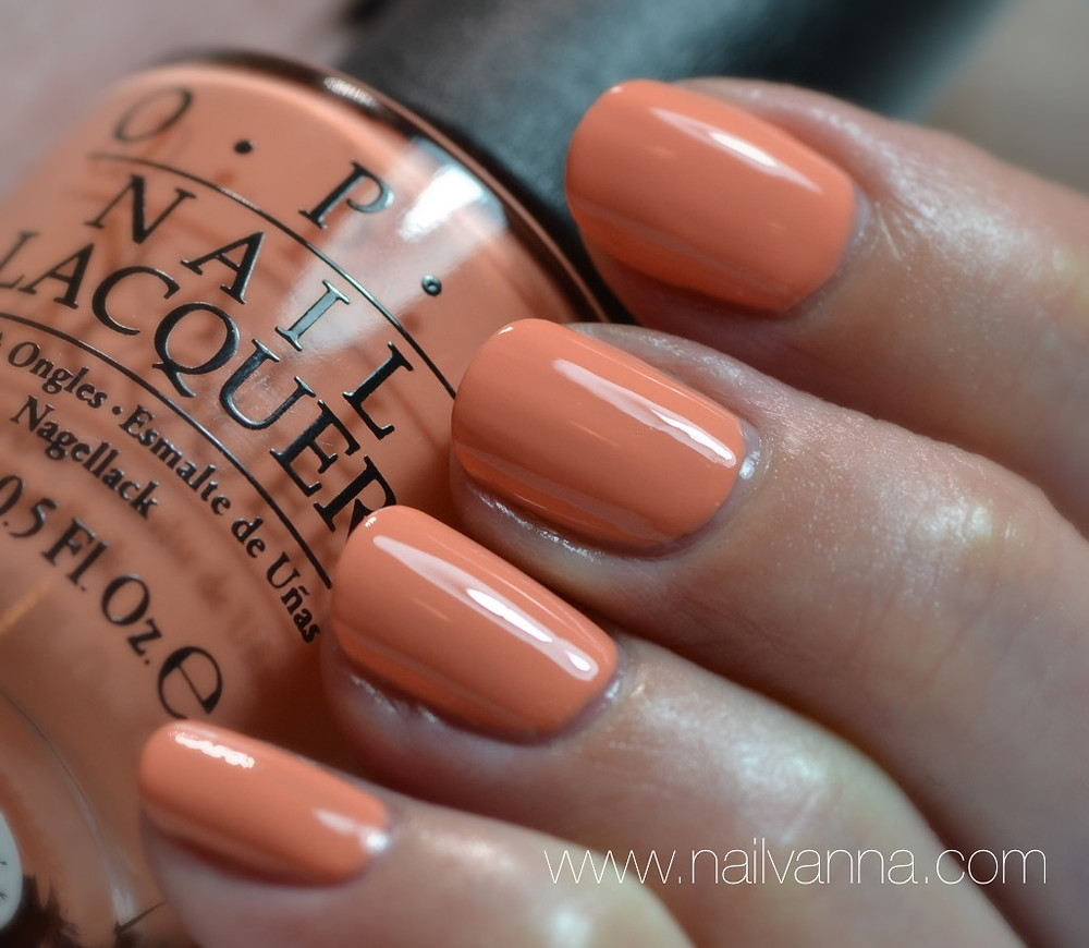 Nailvanna,nail polish reviews,lacquer,OPI,New Orleans,Crawfishin' For A Compliment,peach,orange