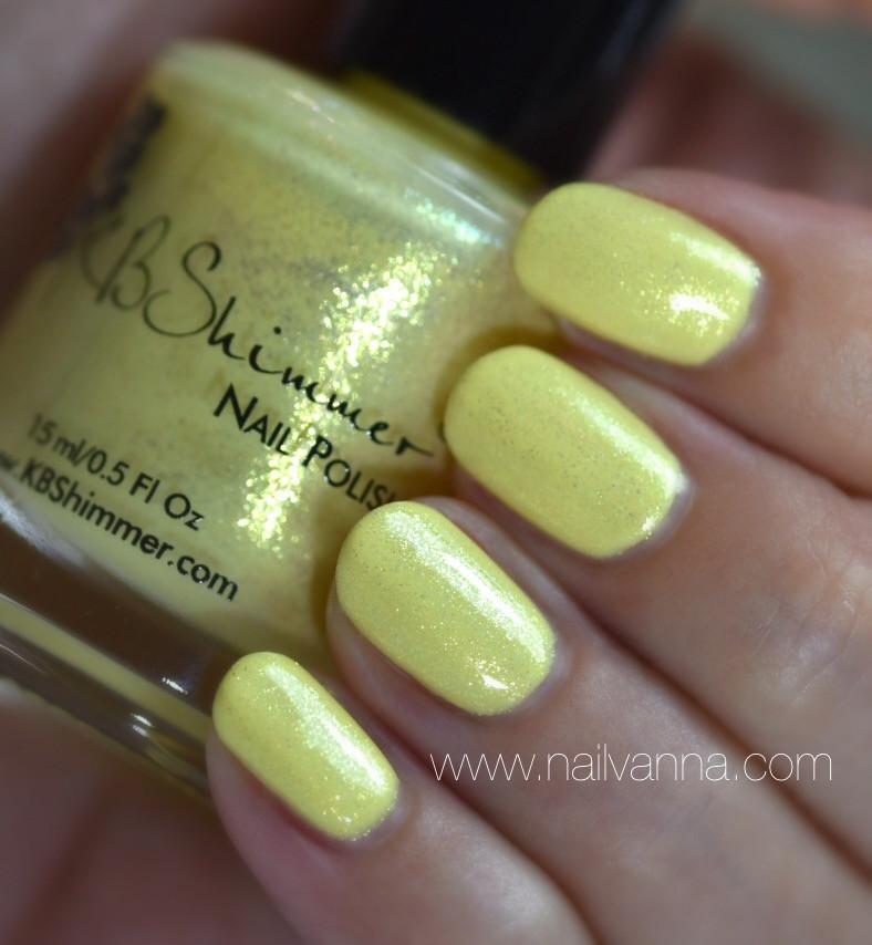 Nailvanna,nail polish reviews,lacquer,KB Shimmer,Mai Tai One On,Yellow,