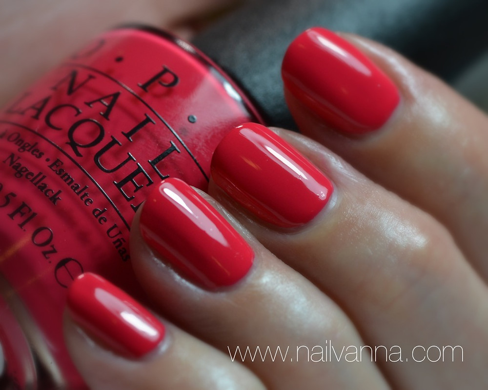 Nailvanna,nail polishreviews,lacquer,OPI,New Orleans,She's A Bad Muffaletta!,red,pink