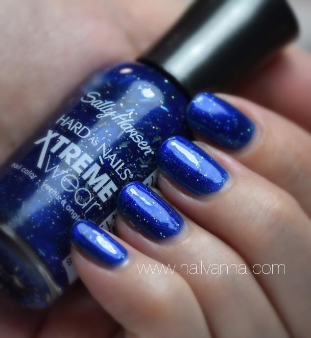 nailvanna,nail polish reviews,lacquer,sally hansen,blue boom,xtreme wear,blue,glitter