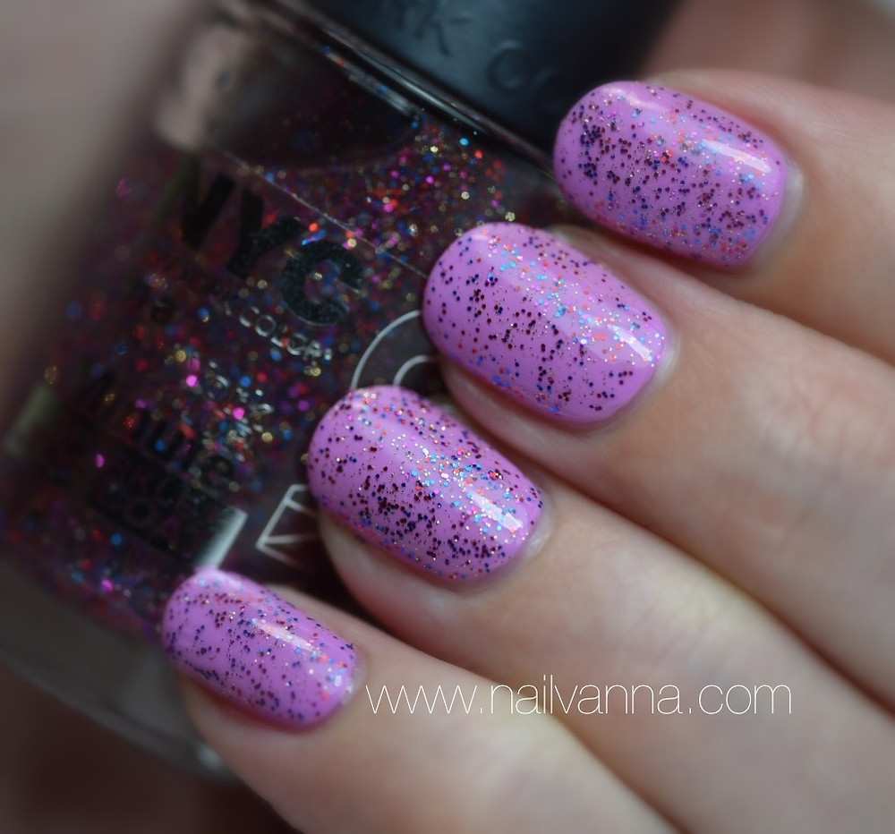 Nailvanna,nail polish review,lacquer,maybelline,lust for lilac,color show,purple,pastel,NYC,glitter,big city dazzle