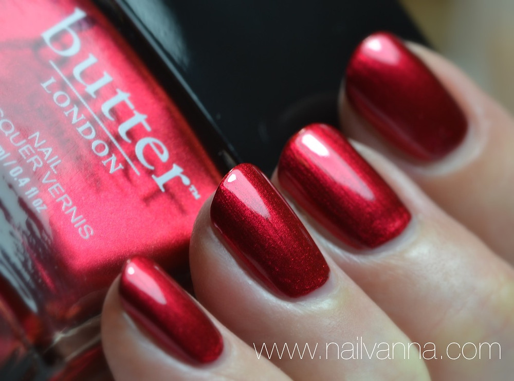 Nailvanna, nail polish review,Lacquer,butter london,knees up,red,