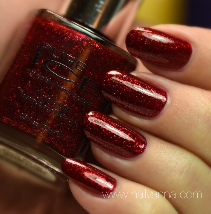 Nailvanna,nail polish reviews,lacquer,Pure Ice ,Hit The Floor,Red glitter,Walmart
