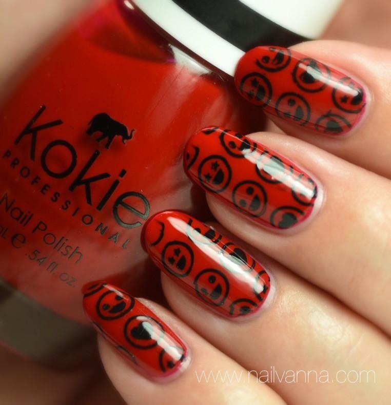 Nailvanna, nail polish reviews, lacquer, red,Kokie, Seeing Red,nail art, emoji