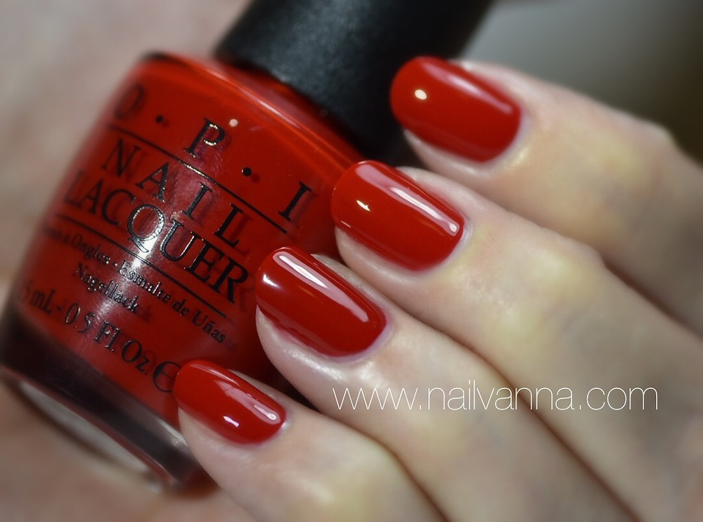 Nailvanna,nail polish reviews,lacquer,OPI,red,i'm having a big head day,Alice Through The Looking Glass