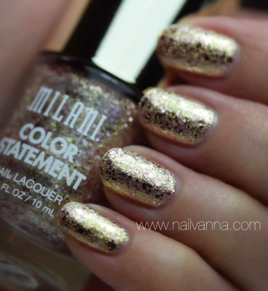 Nailvanna,nail polish review,lacquer,Milani,Gilded Rocks,glitter