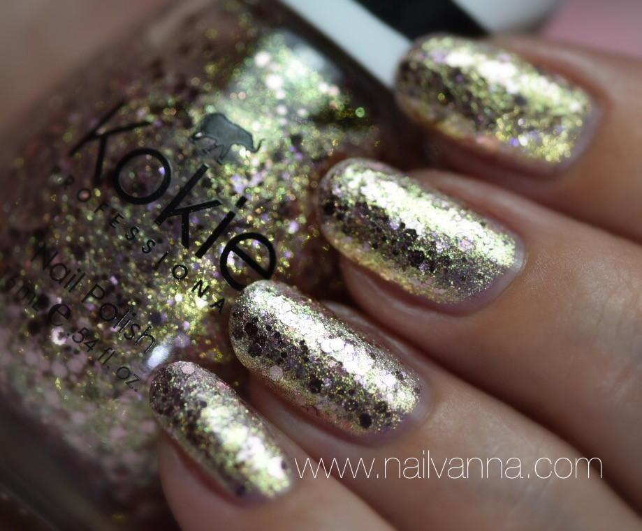 Nailvanna,nail polish reviews,lacquer,Kokie,Sparkler Send Off,glitter,pink