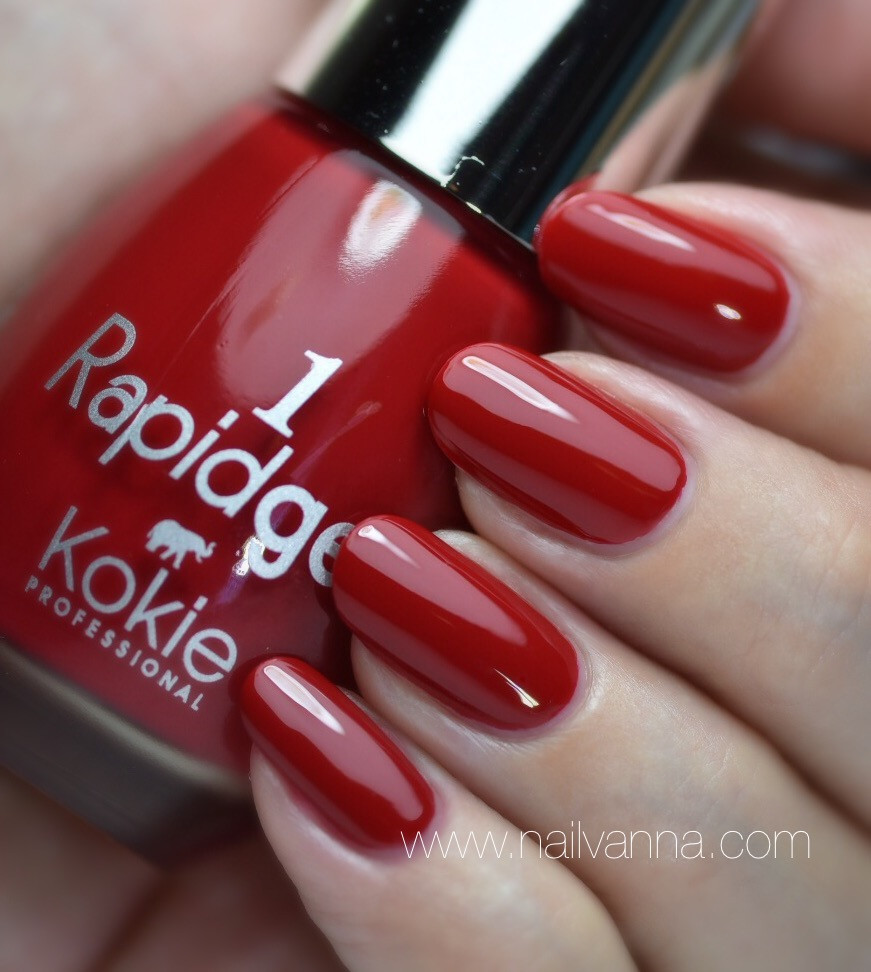 Nailvanna,nail polish reviews,lacquer,Kokie,Rapidgel,Heartbreaker, red
