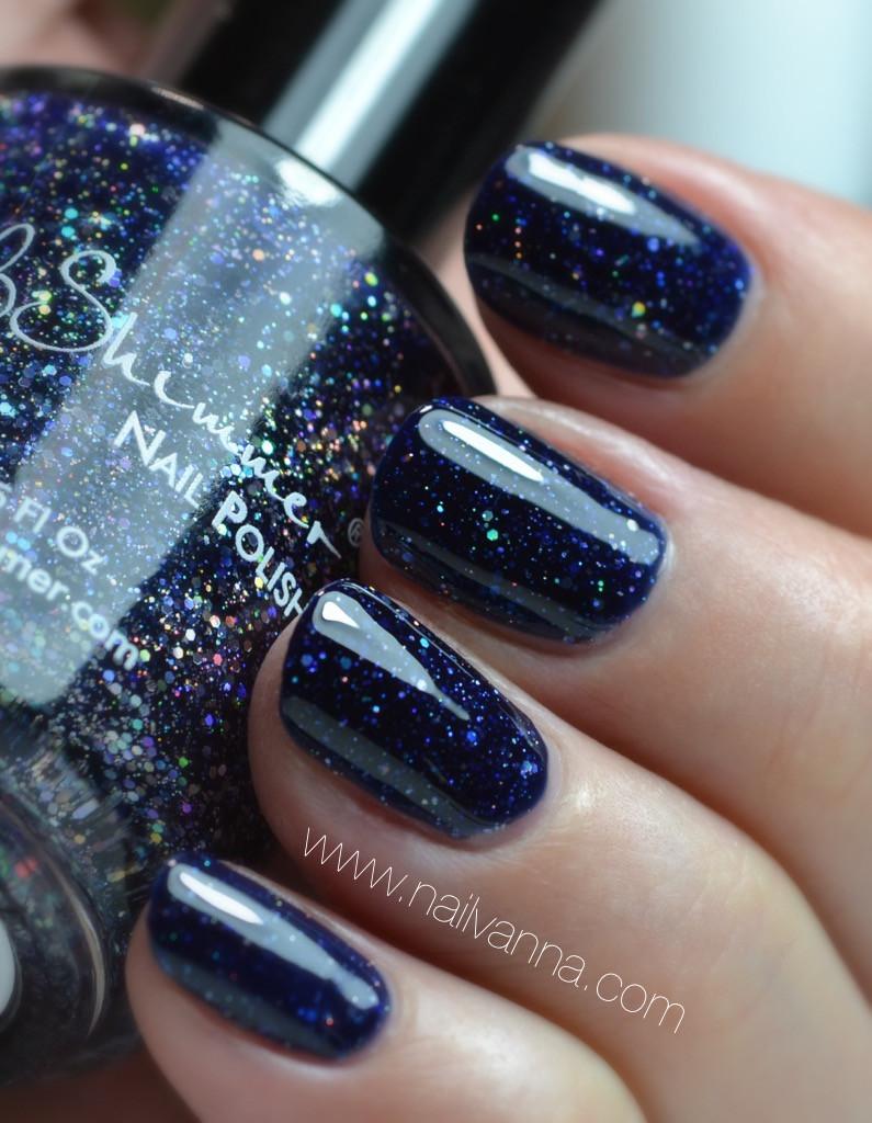 Nailvanna,nail polish reviews,lacquer,KB Shimmer, Carpe Denim,Blue Glitter,Holo