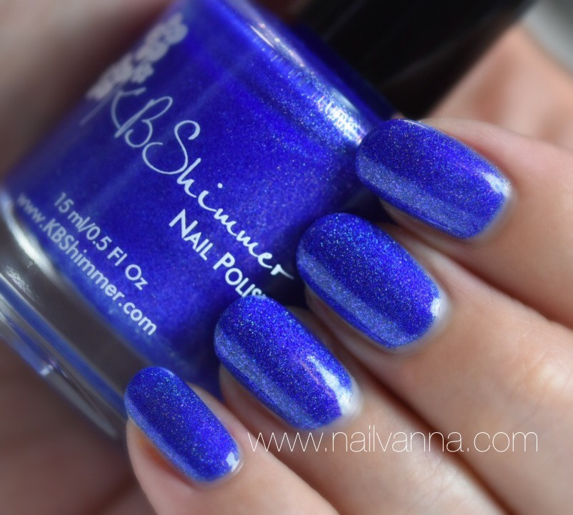Nailvanna,nail polish reviews,lacquer,KB Shimmer,Along For The Tide,blue,holo