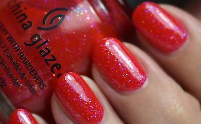 China Glaze Moulin Rouge Red Glitter