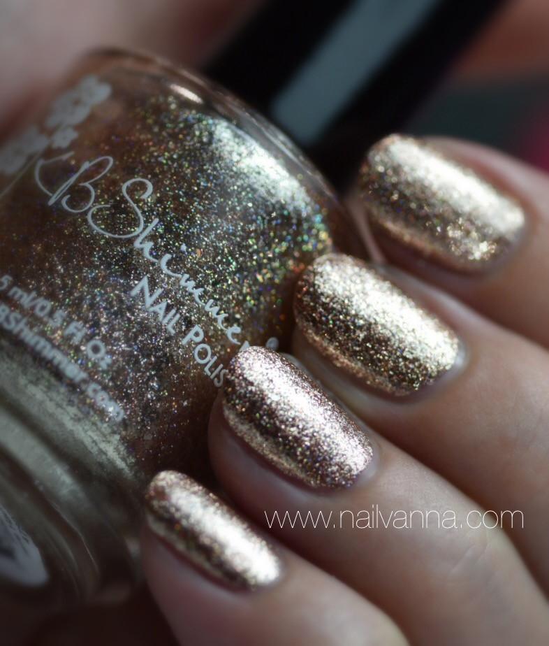 Nailvanna,nail polish review,lacquer,KB Shimmer,One Night Sand,rose gold, glitter