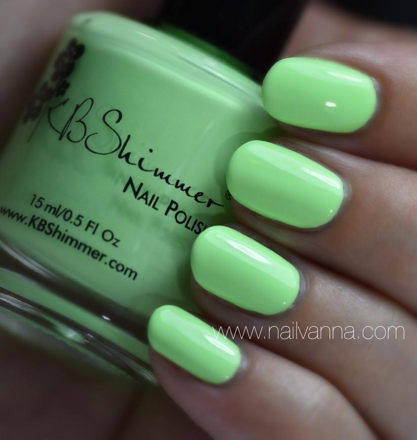 Nailvanna,nail polish reviews,lacquer,KB Shimmer,Ready For A Good Lime, pastel green, neon