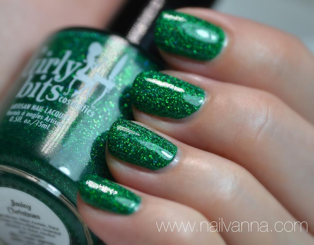 Nailvanna,nail polish reviews,lacquer,girly bits,Jiminy Christmas,green glitter