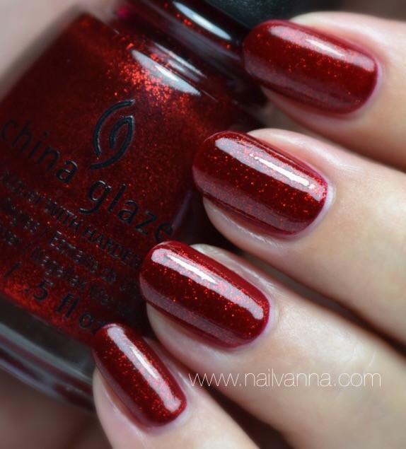 Nailvanna,nail polish reviews,lacquer,China Glaze,Ruby Pumps,red,glitter