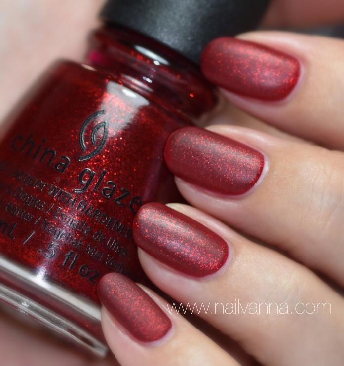 Nailvanna,nail polish reviews,lacquer,China Glaze,Ruby Pumps,red,glitter,mate