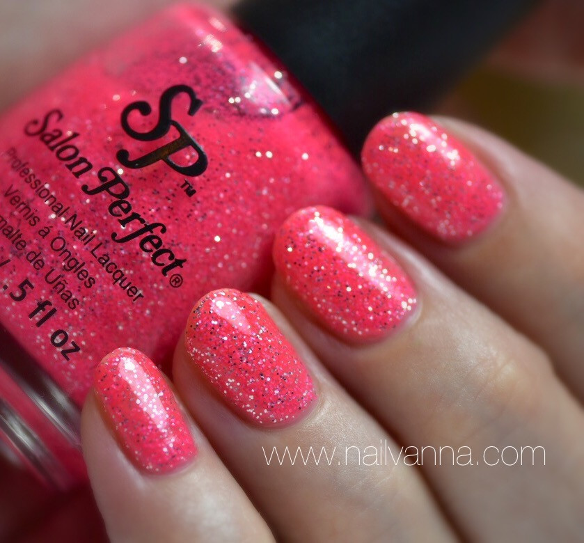 Nailvanna,nail polish review,lacquer,Salon Perfect,Foxy Lady,pink,glitter