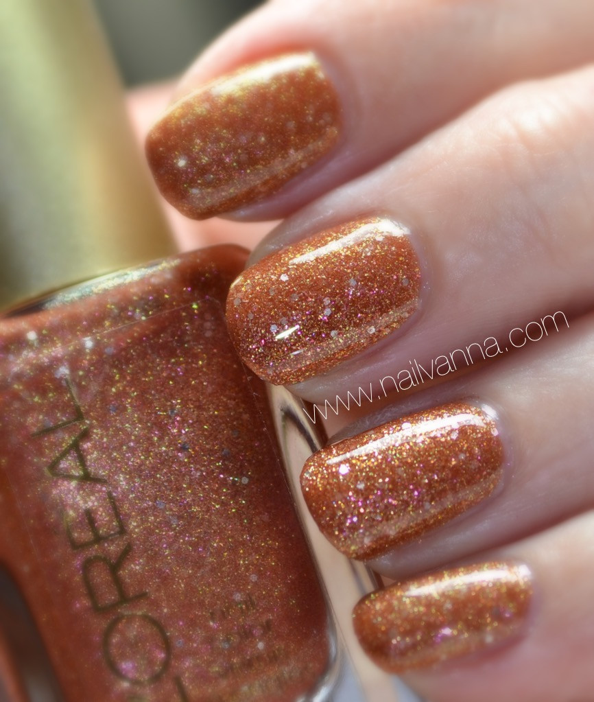 nailvanna,nail polish reviews,lacquer,l'oreal, i like it chunky,orange glitter