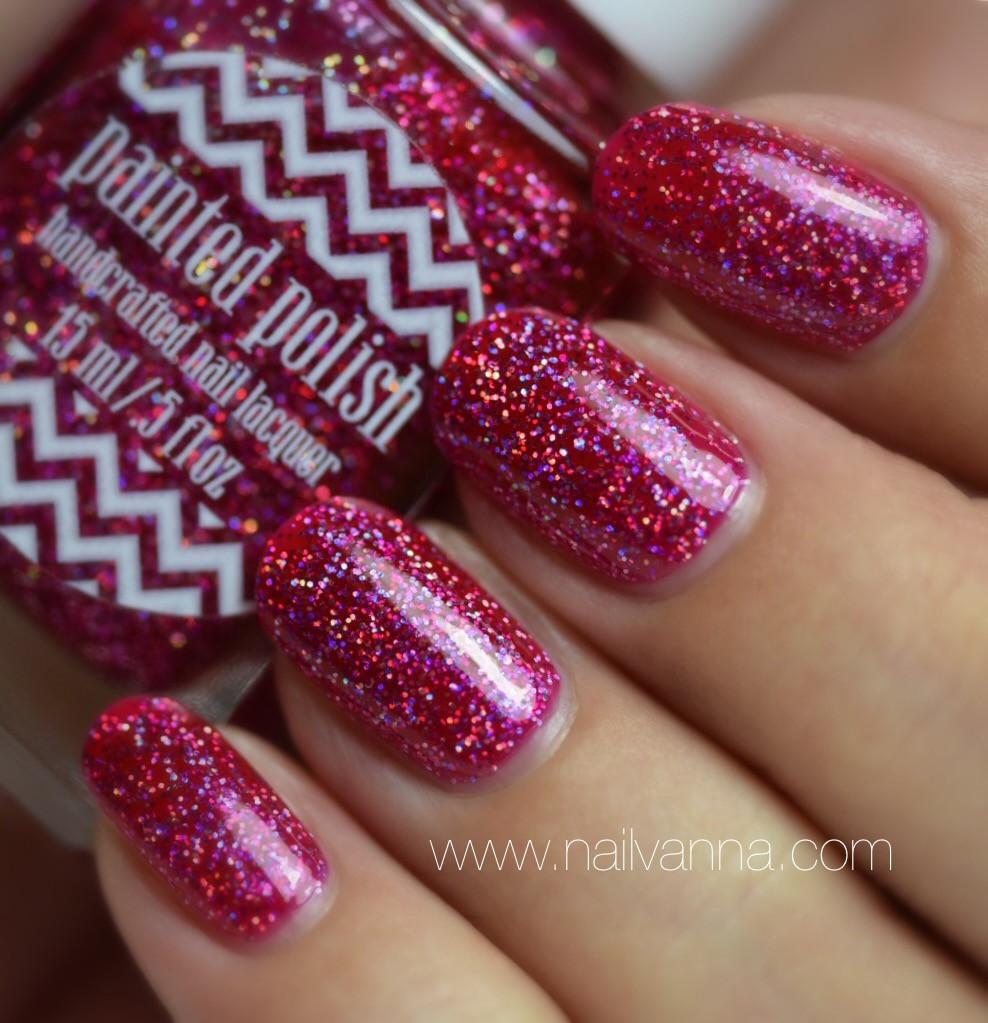 Nailvanna,nail polish reviews,lacquer,Painted Polish,Frisky In Fuchsia,holographic,pink,glitter
