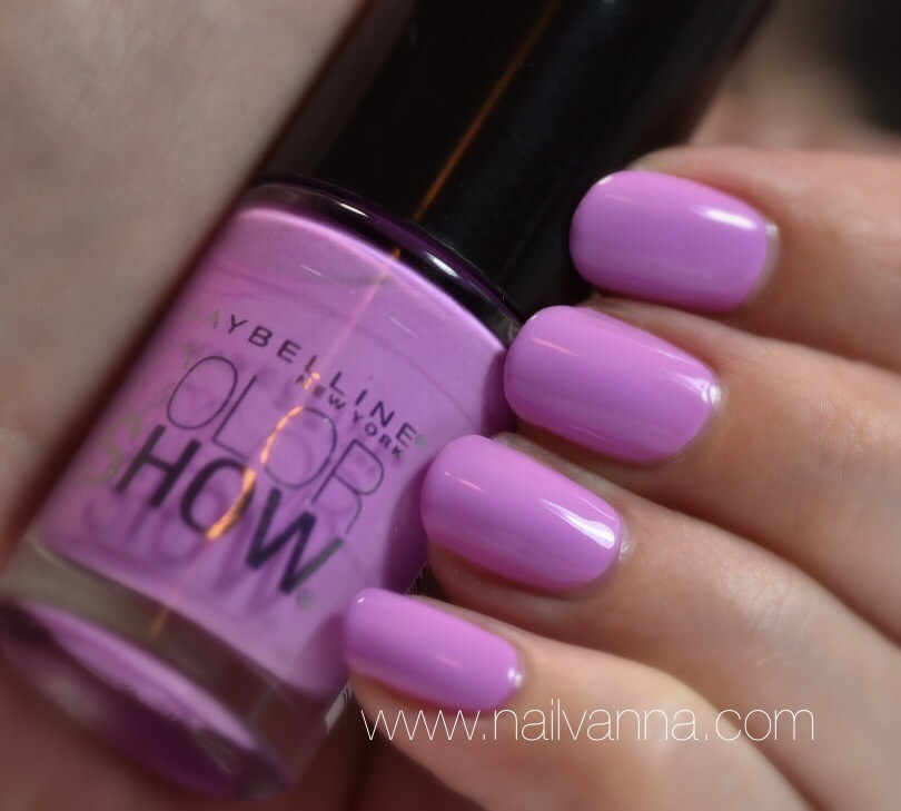Nailvanna,nail polish review,lacquer,maybelline,lust for lilac,color show,purple,pastel