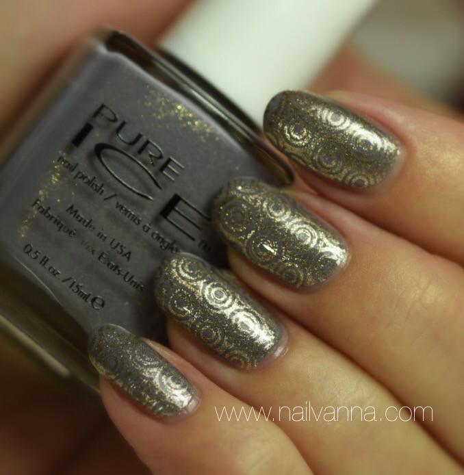 Nailvanna,nail polish reviews,lacquer,Pure Ice,Stone Cold,Grey,Gold Shimmer,Sally Hansen,Go For Gold