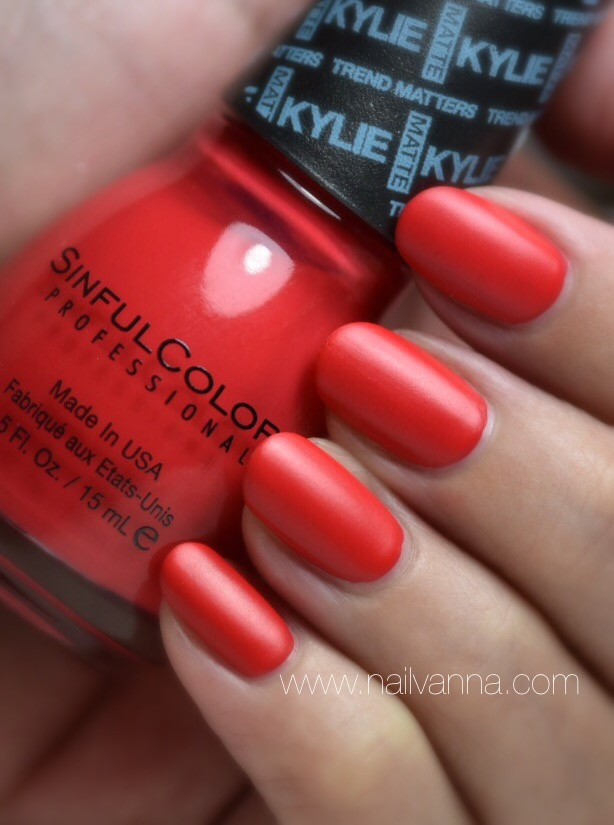 Nailvanna,nail polish reviews,lacquer,Sinful Colors,Kylie Jenner,Holly-wood,red
