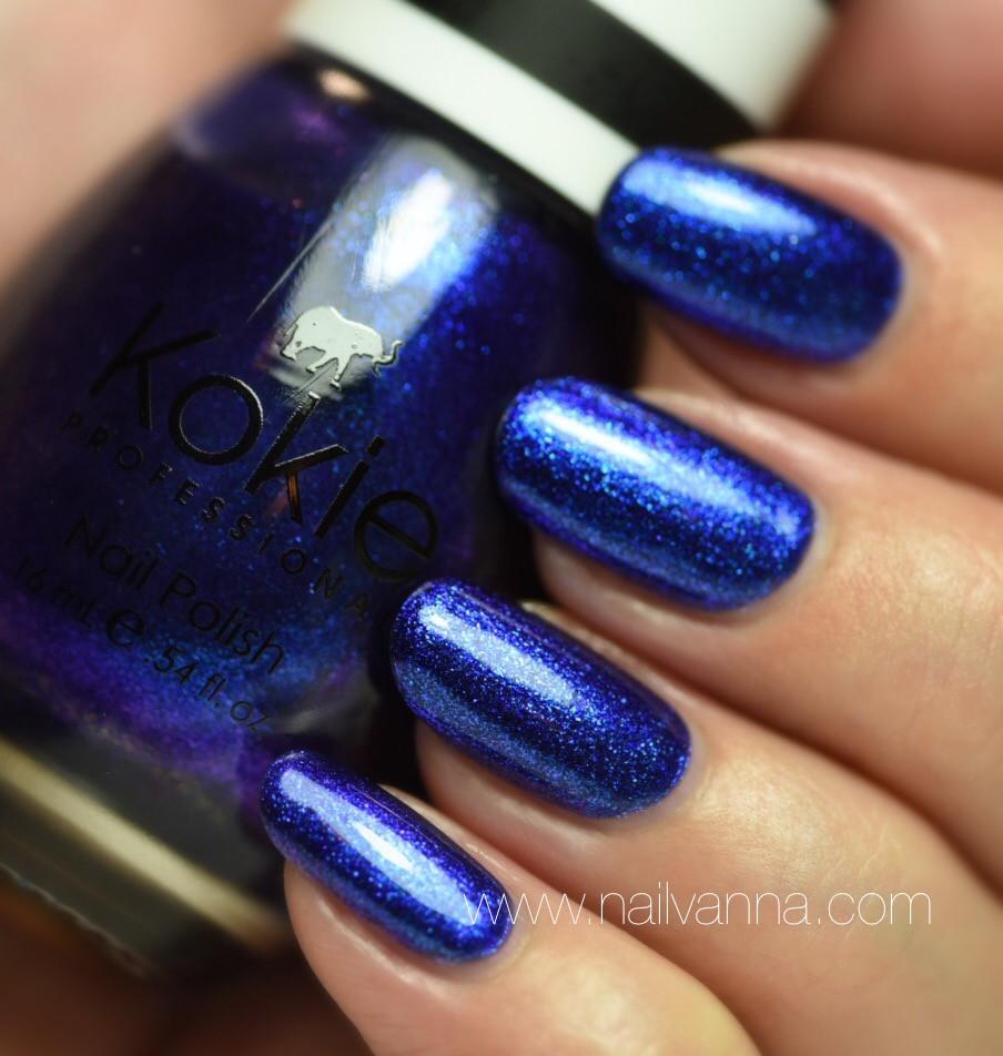 Nailvanna,nail polish reviews,lacquer,Kokie,Royal Flush,blue,glitter