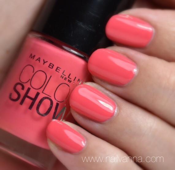 Nailvanna,nail polish reviews,lacquer,maybelline, color show,coral crush