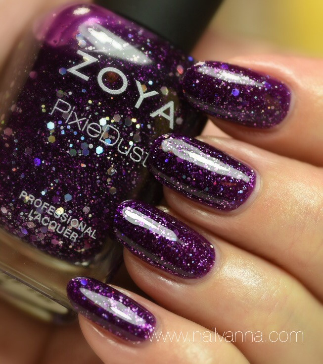 Nailvanna,nail polish reviews,lacquer,Zoya,Thea,Pixie Dust,purple