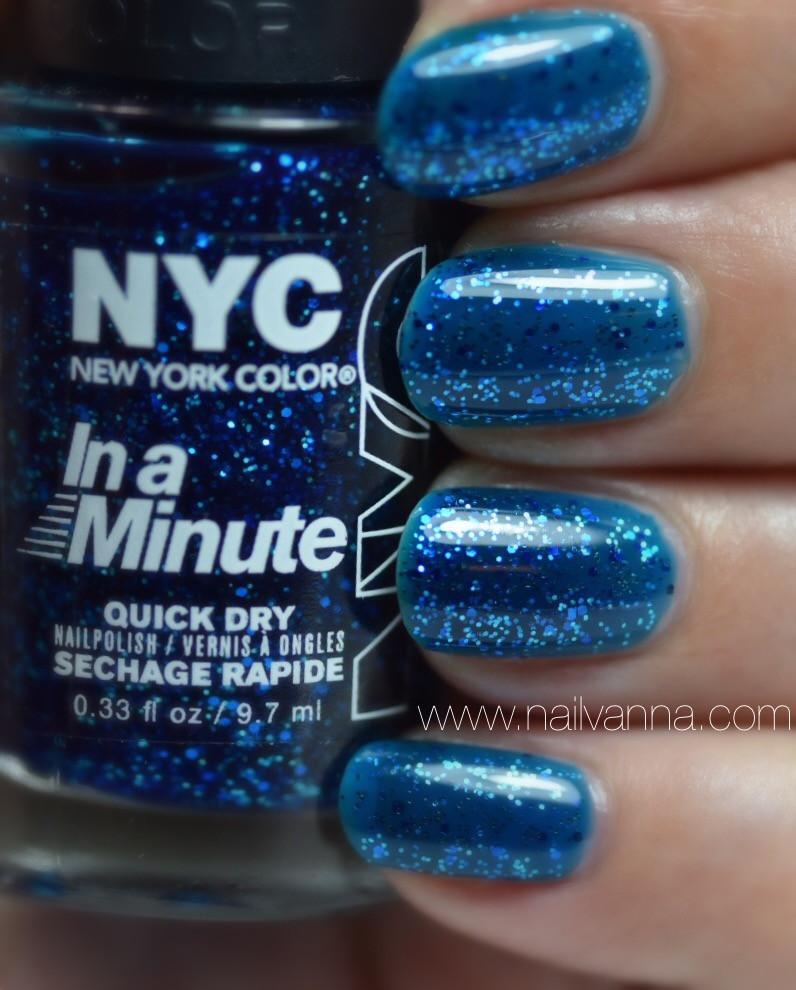 Nailvanna,nail polish reviews,lacquer,NYC,Sea of Diamonds,blue jelly,glitter
