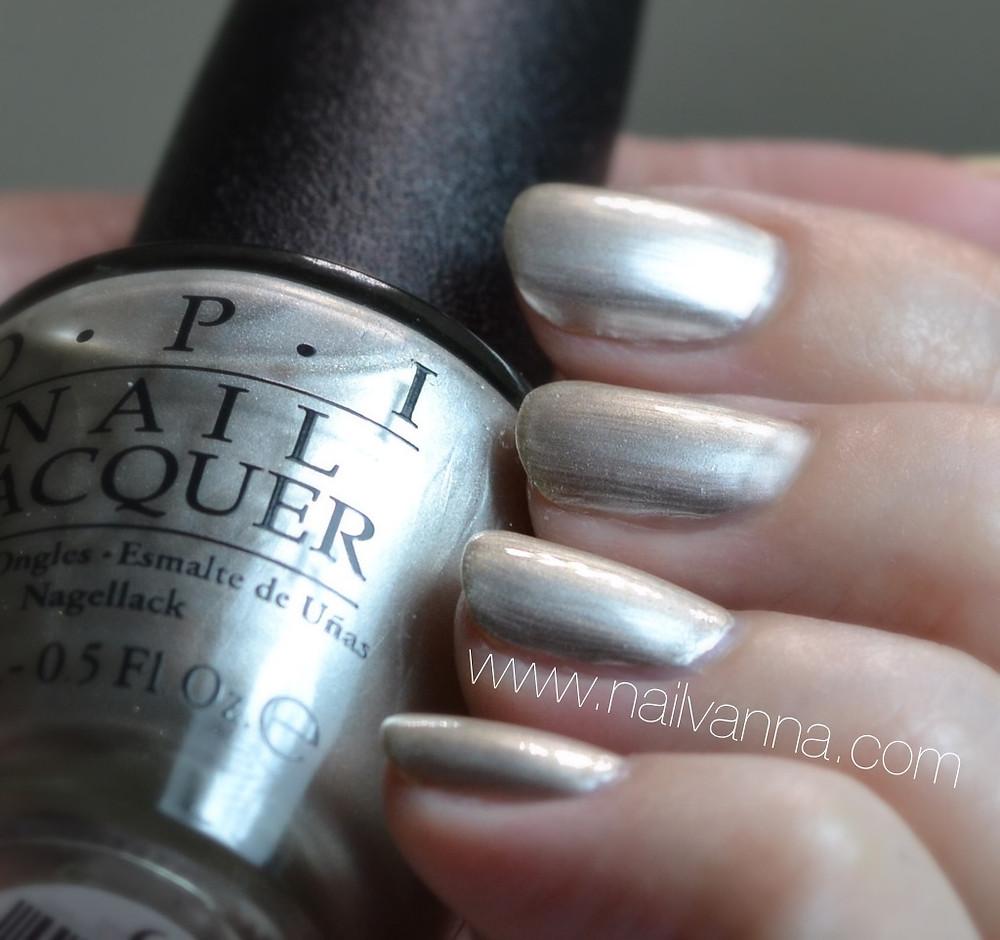 Nailvanna,nail polish reviews,lacquer,OPI New Orleans,Take a Right On Bourbon,silver nail polish