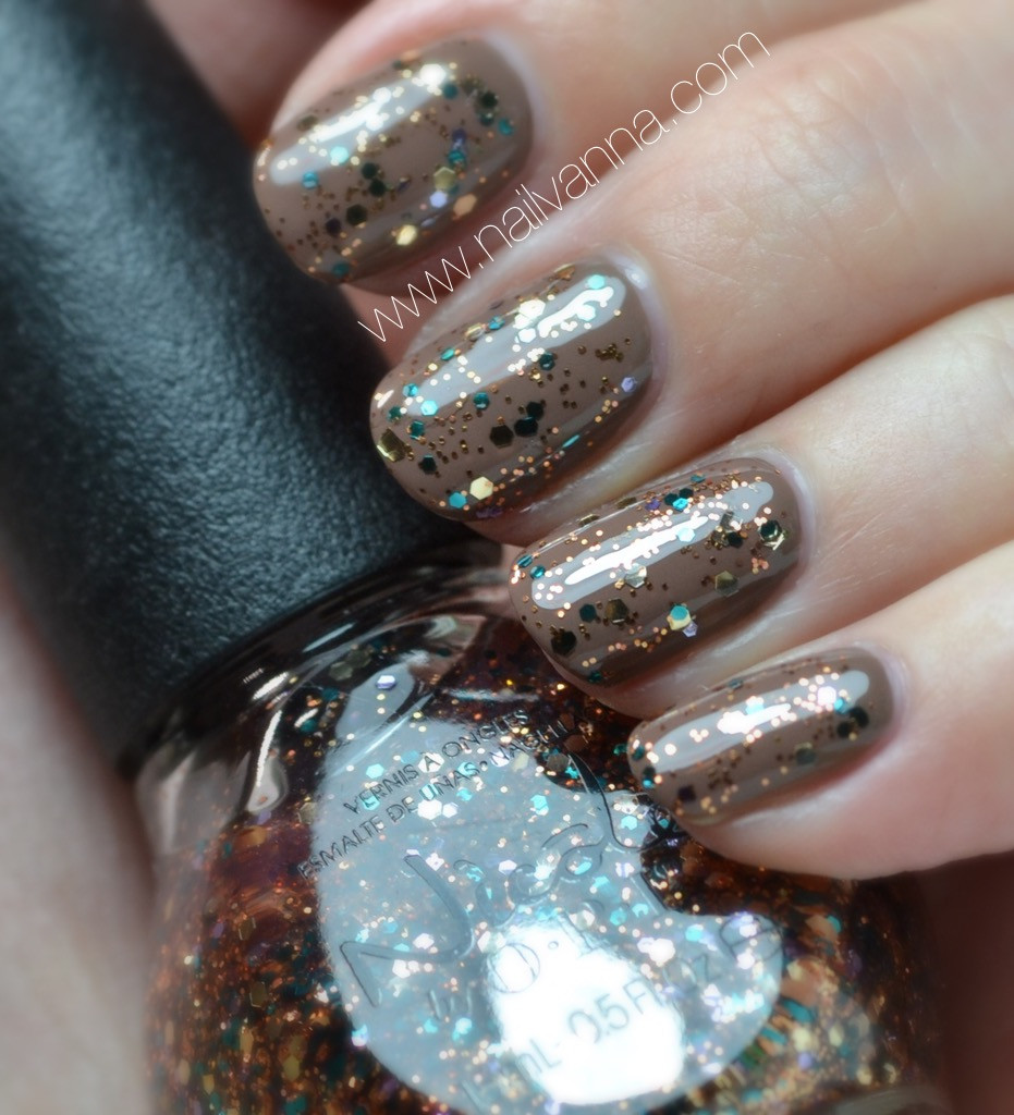 Nailvanna,nail polish reviews,lacquer,essie,fierce no fear,brown,neutral,nicole,pick of the glitter