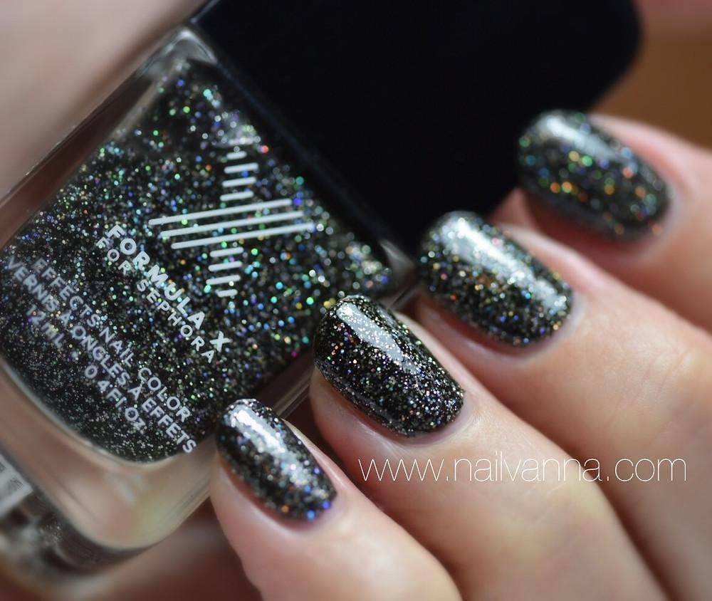 Nailvanna,nail polish reviews,formula x,naughty newton,black glitter,sephora