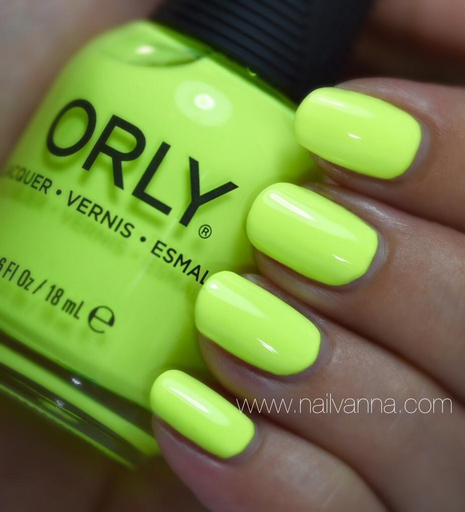 Nailvanna, nail polish reviews,lacquer,Orly,Glowstick,yellow,neon