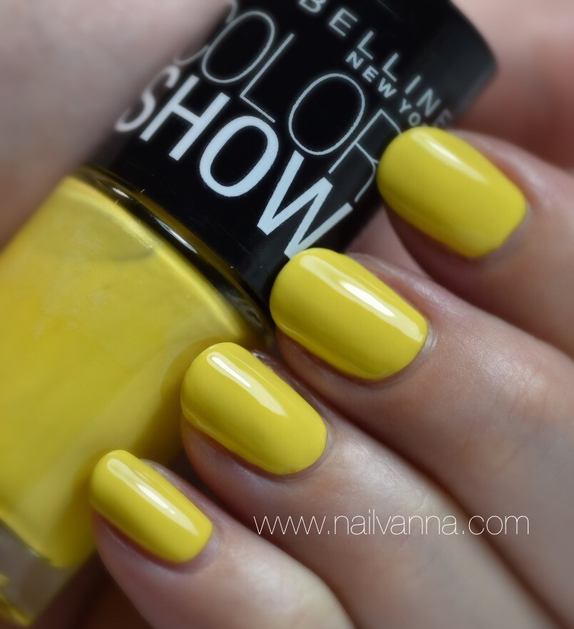 nailvanna,nail polish reviews,lacquer,Maybelline,Fierce and Tangy,yellow