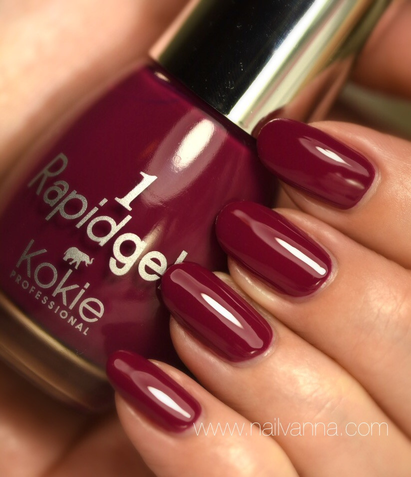 Nailvanna,nail polish reviews,lacquer,kokie,dahlia,burgundy,Rapidgel