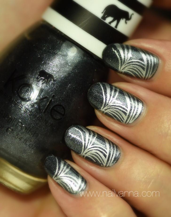 Nailvanna,nail polish reviews, lacquer,Kokie,Protoge,grey,glitter,nail art, grey and silver,stamping