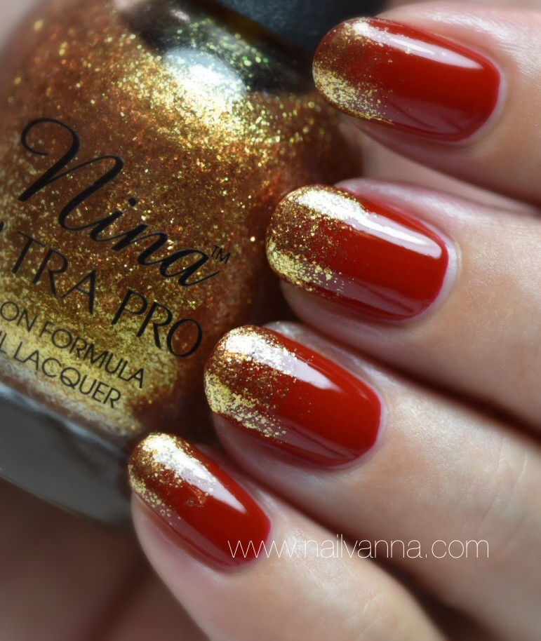 Nailvanna,nail polish rewies,lacquer,Essence,Fame Fatal, red,Nina,Gold Flake top coat