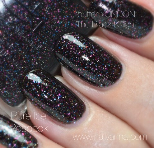 Nailvanna,nail polish reviews,lacquer, black, glitter,Pure Ice,Respeck,Butter London,The Black Knight