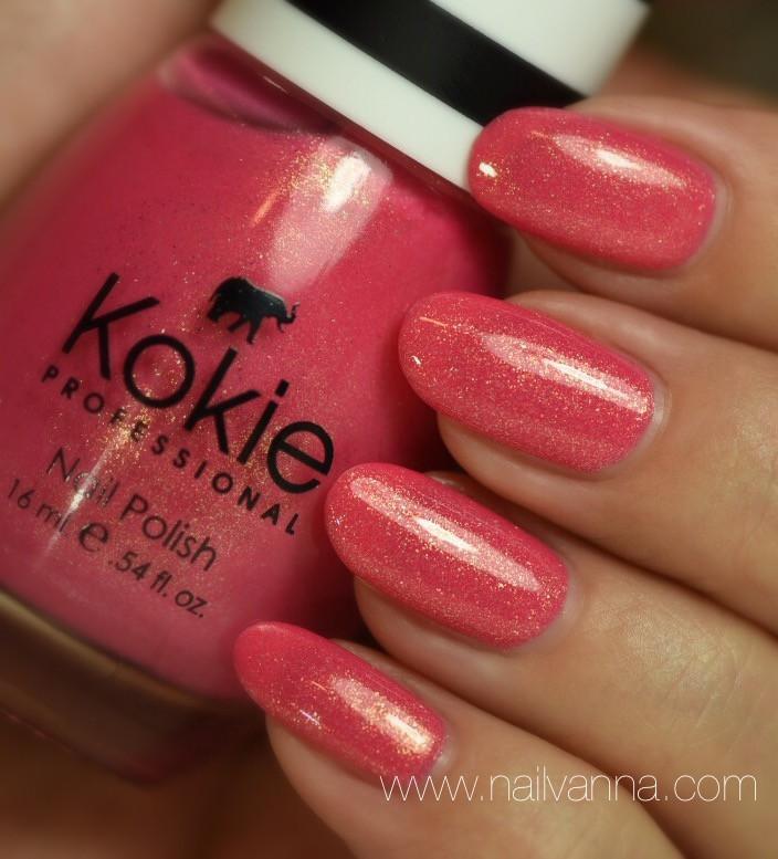 Nailvanna,nail polish reviews,lacquer,Kokie,We Wear Pink,gold glitter,pink