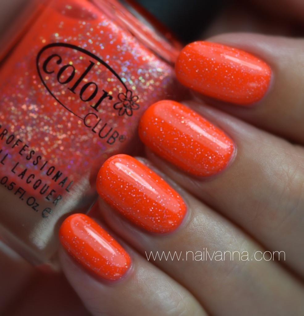 Nailvanna,nail polish reviews,lacquer,Color Club,You Got Soul-ar,orange glitter