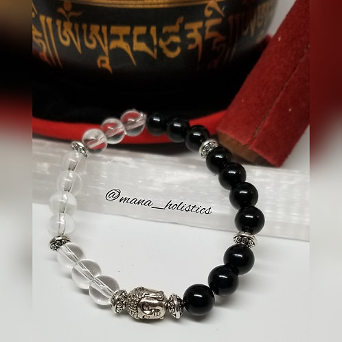 Black Onyx & Clear Quartz Protection Bracelet (Custom Made to Order)