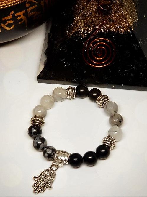 (Adult) Snowflake Obsidian Protection Bracelet