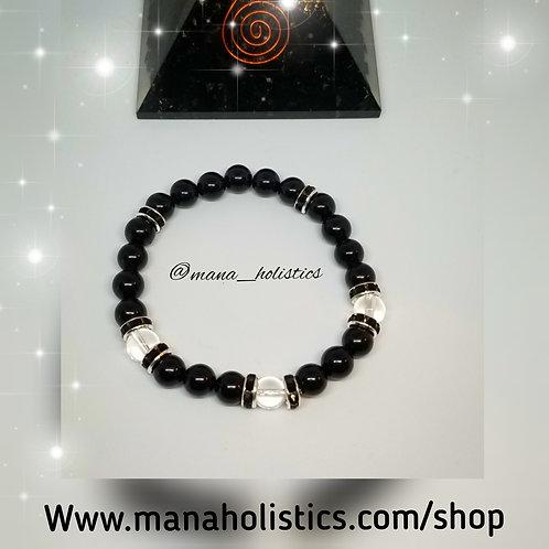 Black Tourmaline & Clear Quartz Protection Bracelet