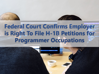 Federal Court Confirms Employer is Right To File H-1B Petitions for Programmer Occupations