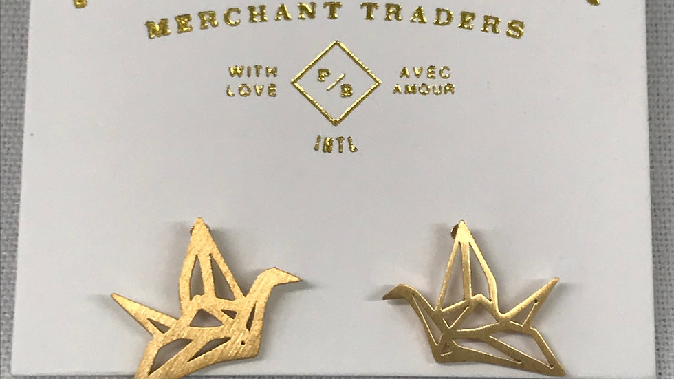 Pika & Bear gold paper crane earrings