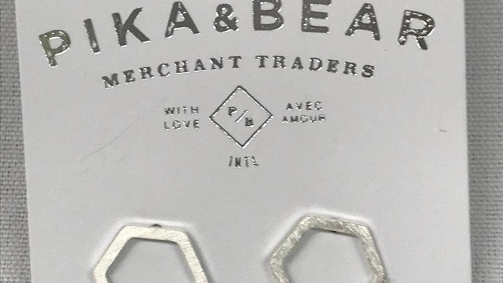 Pika & Bear Hexagon earrings