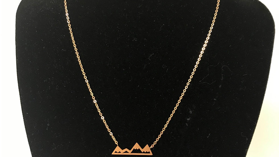 Pika & Bear Rosegold mountain range necklace