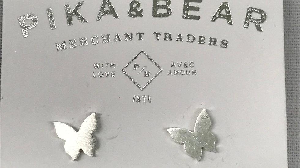 Pika & Bear silver butterfly earrings